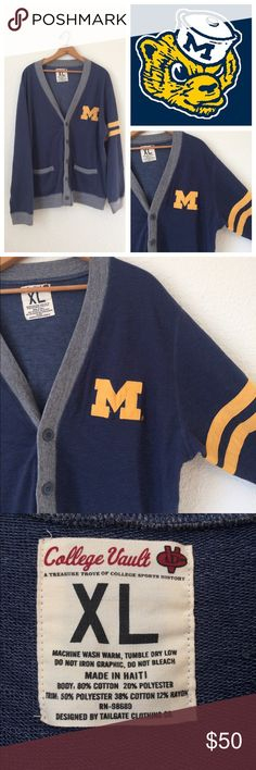Unisex Michigan Vintage Style Cardigan Perfect for game day!!!! College vault brand, size XL, unisex. In excellent used condition. Go blue! Sweaters Cardigans