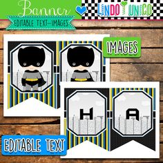 Batman Banner, Instant Download, Editable Text, PDF, LindoyUnico, batman banner, printable, comic, banner superhero, superheroes, batman birthday, pdf, instant download, editable text, party printables, super hero, party batman, bunting batman labels, superhero, bunting, Invitation, Digital, Banner, Banners, Label, Labels, Tags, Tags, Topper, Toppers, Cupcake, Wrappers, Straw Flags, Thank you Card, Note, Thank You Tags, Tag, Water Bottle Labels, Water Bottle Label