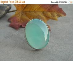 Sea foam green ring  Chalcedony ring  Cabochon ring  by Studio1980