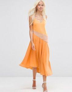 Vestido estilo camisola a media pierna con paneles colour block de ASOS