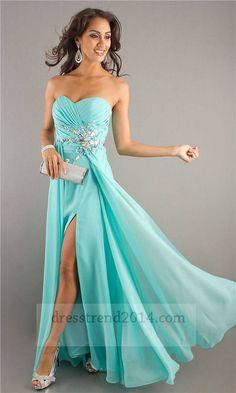 Aqua Jeweled Ruched Slit Long Prom Dress 2014