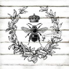 French Vintage Wreath Bee Large Black and White Instant Digital Download Shabby Chic Printable Graphic Transfer Decoupage Crown Card Tag