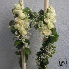 Lumanari cununie lungi trandafiri orhidee #lumanaricununie #lumanarinunta #lumanaricrem #florialbe #lumanaritrandafiri #nunta #mireasa #florist #decorlumanare Palm Sunday, Gypsophila, Wedding Flowers, Wedding Dresses, Scented Candles, Floral Arrangements, Our Wedding, Floral Wreath, Wedding Decorations