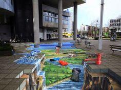 senserile 515 D Street Art Gallery Amazing Street Art, 3d Street Art, Street Art Graffiti, Amazing Art, 3d Sidewalk Art, Pavement Art, 3d Chalk Art, 3d Optical Illusions, Batman