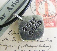 2015 Graduation Gift Guy or Girl Pewter Hand Stamped Pendant  Black Leather Choker Necklace