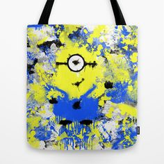 Splatter Painted Minion  Tote Bag by Trinity Bennett - $22.00