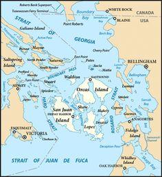 Deer Harbor, San Juan Islands, Washington | San Juan Islands (highlighted) and surrounding region.