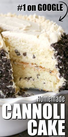 Homemade Cannoli Cake recipe this amazing. Homemade Cannoli Cake recipe this amazing from scratch 4 layer cake is filled with a delicious Cannoli frosting and mini chocolate chips. A fan favorite and the best birthday and holiday dessert! Homemade Cake Recipes, Delicious Cake Recipes, Cupcake Recipes, Yummy Cakes, Baking Recipes, Amazing Dessert Recipes, Amazing Deserts, Layer Cake Recipes, Layer Cakes