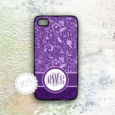 cute lavender custom personalized iphone case  monogrammed purple hard cover. $16.99, via Etsy.