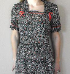 Vintage 50s Dress Print Martha Manning Rayon M L by soulrust, $29.99