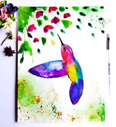 Hummingbird Watercolor Ink Bird Painting by CelineArtGalerie, €37.00