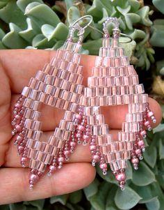 Beadwoven earrings cool earrings boho by Kissedbyclover on Etsy, #beadwork