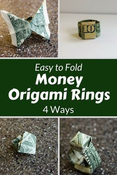 Dollar Ring Origami Money Origami Ring 4 Ways Fave Mom. Dollar Ring Origami How To Make A Paper Origami Dollar Ring. Dollar Ring Origami Dollar Bill O. Easy Money Origami, Money Origami Tutorial, Origami Gifts, Dollar Origami, Origami Love, Useful Origami, Origami Design, Origami Paper, Origami Flowers