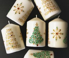Set of 6 Christmas Henna Candles - Henna Inspired Home Decor/Holiday Decor, Holiday Gifts, Christmas Gifts, Christmas Party Favors - Beth Summers Willard Homemade Candles, Diy Candles, Christmas Party Favors, Christmas Crafts, Christmas Décor, Henna Candles, Candle Art, Diy Gifts For Friends, Christmas Candles