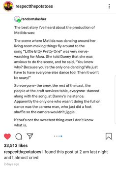 When I dance, you dance, we dance. Sweet Stories, Cute Stories, Make Me Happy, Make Me Smile, Matilda, Gives Me Hope, Faith In Humanity Restored, Fandoms, Wholesome Memes