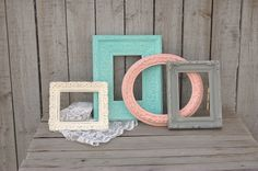 Photo Frames Shabby Chic Set Upcycled Mint by TheVintageArtistry, $49.00