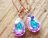 Aurora Borealis Rose Gold Earrings, Swarovski Crystal Rhinestone Pear, 14K Rose Gold Leverbacks, Bridesmaid Gifts, Rose Gold Jewelry, AB