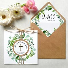 Zaproszenia komunijne eco papier Place Cards, Place Card Holders, First Holy Communion, Grief