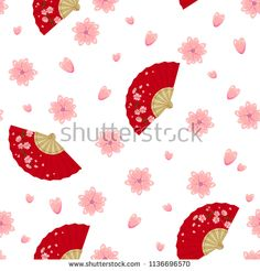 Vector seamless pattern with folding fan with sakura branch, cherry blossom flowers. Perfect for textile, covers, wallpapers and other design works