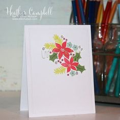 Floral Merry Card by @parkermolly using @averyellestamps stamps and dies. #EllenHutsonLLC