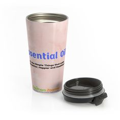 """Enjoy your favorite beverage at home or on-the-go with our """"Essential Oils...It's the Simple Things That Make Life Better, Happier and Healthier"""" pink marbleize"""
