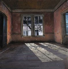 """Italian artist, Matteo Massagrande created this desolate interior called """"Red Room."""" I challenge you to look at this painting metaphorically. Mary Cassatt, Red Rooms, Empty Room, Italian Artist, Beautiful Paintings, Pastel Paintings, Windows And Doors, Oeuvre D'art, Interior And Exterior"""