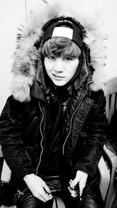 Suga black and white. Why is this guy so cute and sexy at the same time???