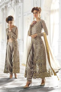 Grey designer wear Indian dhoti style anarkali suit in net Indian Wedding Outfits, Pakistani Outfits, Indian Outfits, Wedding Dresses, Pakistan Fashion, India Fashion, Asian Fashion, Kurta Designs, Indian Attire