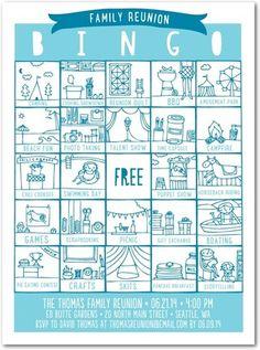 Family Bingo - Party Invitations - Tallu-lah - Teal - Blue : Front