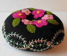 Handmade Wool Nosegay Pin Cushion by QuiltShenanigans <3..gasp!..gorgeous!!!