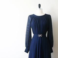 Vintage 60s Dress Midnight Blue Navy Chiffon by StandardVintage, $98.00