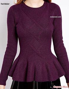 Доброго времени суток!  Хочу показать Вам прекрасный пуловер, связанный спицами.  Вязанный пуловер спицами с баской от Ted Baker - нарядная и очень женственная модель от английского бренда.