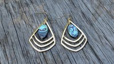 Gold  Abalone Earrings, Shell Statement Earrings, Mermaid Jewelry, Dangle, Beach Wear, Geometric Design, Boho Chic, Spring Collection