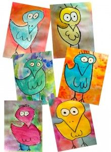 James Rizzi style birds....oil pastel and water color