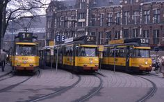 Amsterdam 3G trams (build 1960) 622 and 614, and 7G tram (720, build in 1968), somewhere in the '90's.