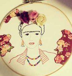 Frida forever - bordado livre em bastidor