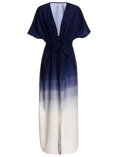 Stylish Plunging Neck Half Sleeve Ombre Color Women's Maxi Dress