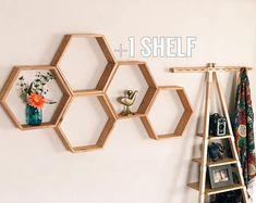 Set of 5 Large Deep Hexagon Shelves, Honeycomb Shelves, Reclaimed Wood, Floating Shelves, Geometric Shelves
