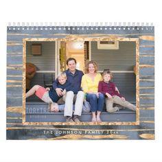 Gold Foil On Blue Photo Calendar
