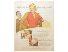 Woodbury Beauty Cream Ad  1940's Magazine Advertising for