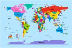 Trademark Fine Art Michael Tompsett 'Childrens World Map' Canvas Art, Multi Abstract Canvas, Canvas Art Prints, Canvas Paintings, Canvas Artwork, Color World Map, World Map Printable, Free Printable, Kids World Map, Maps For Kids