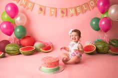 Watermelon cake smash, pink and green cake smash, one in a melon First Birthday Theme Girl, Kids Birthday Themes, Girl Birthday Decorations, 2nd Birthday Photography, Cake Smash Photography, Watermelon Birthday Parties, Birthday Girl Pictures, 1st Birthday Photoshoot, Smash Cake Girl
