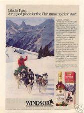 1986 WINDSOR WHISKY AD/ SIBERIAN HUSKY SLED DOGS CANADA