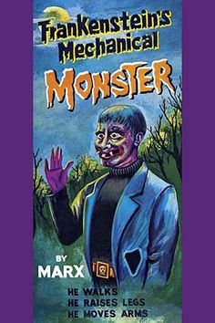 The original box art for a battery operated tin toy featuring a version of the Frankenstein monster that is more comical than scary for this children's toy.