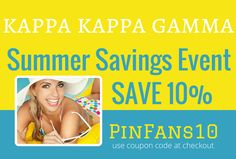 Summer Savings Event for our Pinterest Followers! Save 10% storewide on all Kappa Kappa Gamma merchandise. Enter coupon code: PinFans10 at checkout. we create smiles. happy shopping. happy life. #kappa #kappakappagamma #greek #sorority #greekgift #summer #summersavings #mdsororitygifts