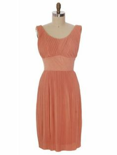 Vintage Crystal Pleated Dress Jerry Gilden 1950s Peach Colored Acetate