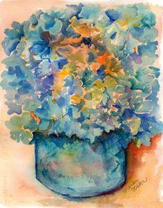 Hydrangeas flowers Painting Original by SharonFosterArt on Etsy