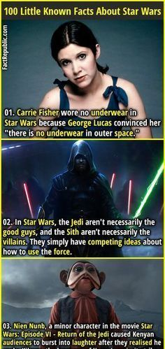 """Carrie Fisher wore no underwear in Star Wars because George Lucas convinced her """"there is no underwear in outer space."""" In Star Wars, the Jedi aren't necessarily the. Star Wars Jokes, Star Wars Facts, Star Wars Trivia, Carrie Fisher, Star Wars Characters, Star Wars Episodes, Reylo, Star Wars Wallpaper, Portal Wallpaper"""