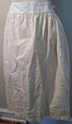antique Victorian/Edwardian winter petticoat, wool flannel w hand knit trim