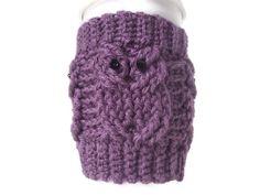Owlicious Coffee Cozy Dusty Purple by DawnsCozyCorner on Etsy, $17.00
